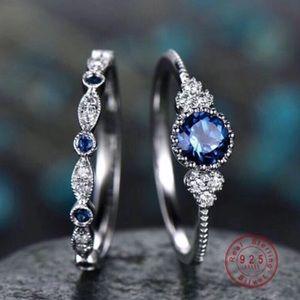 Luxury 2 pcs/set Blue Crystal Ring